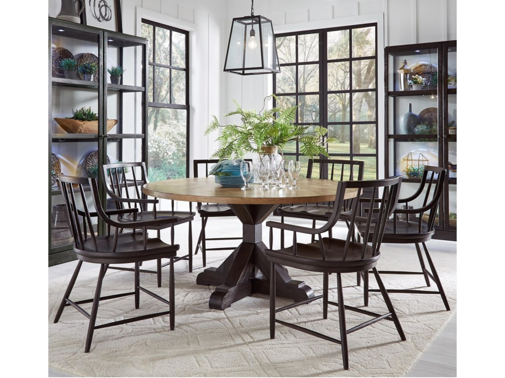 35efc2d334d7 The Art of Dining 7 Piece Round Table and Windsor Chair Set by Pulaski  Furniture