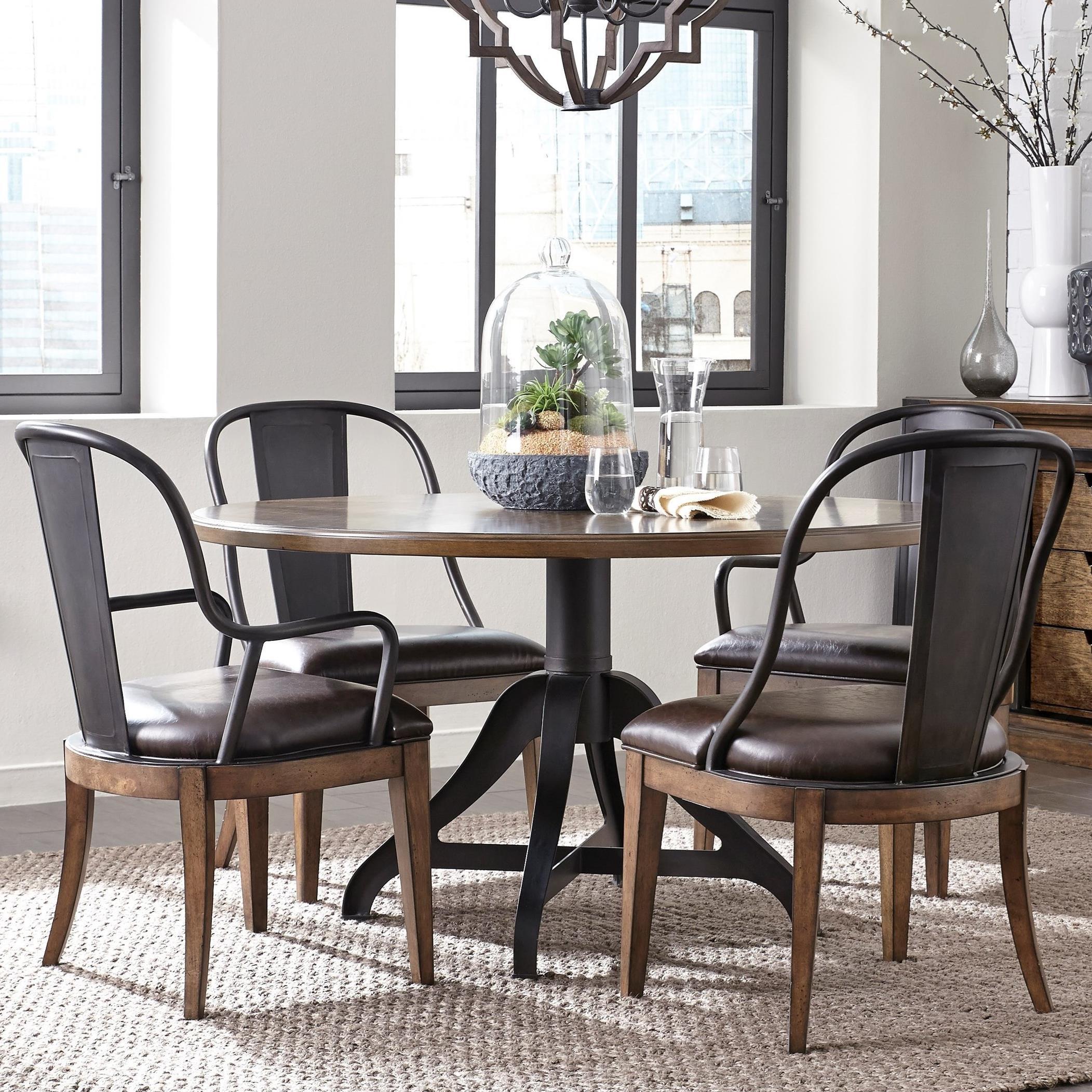 Pulaski Furniture Weston Loft 5 Piece Round Table And Metal Back Chair Set
