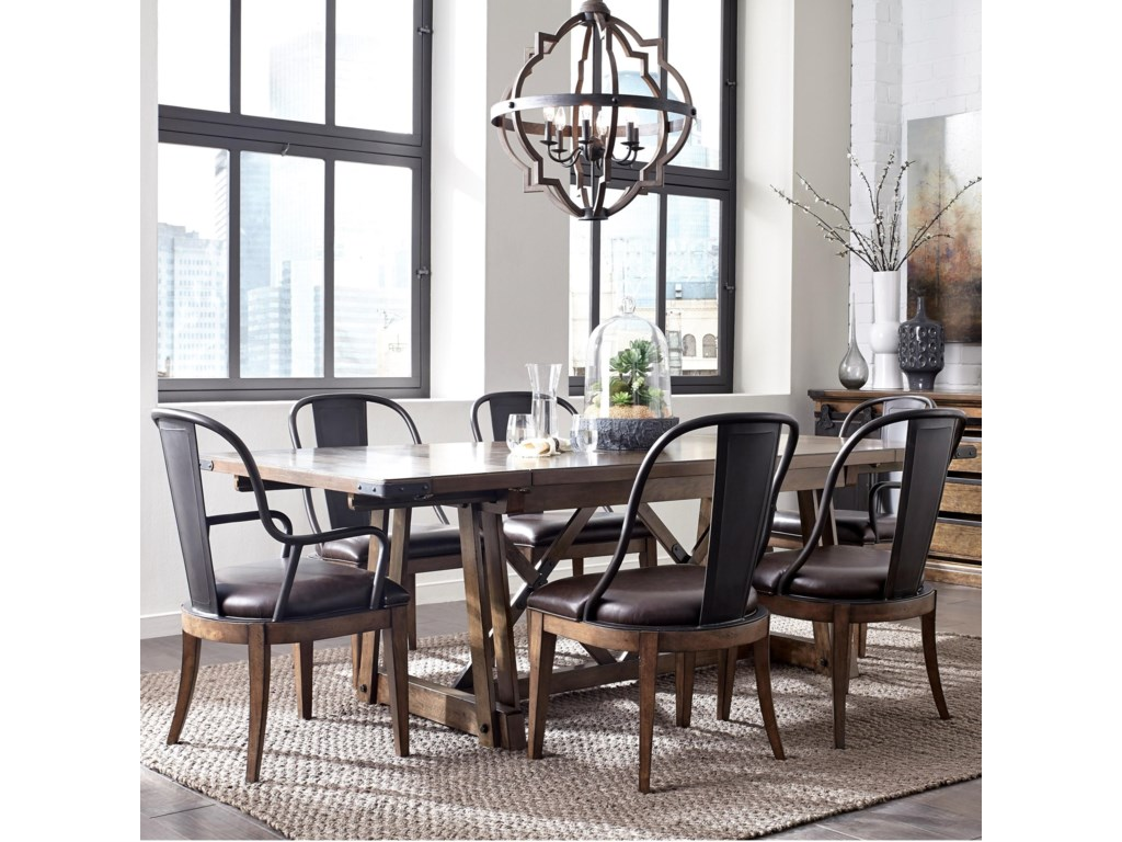 Weston Loft 7 Piece Trestle Table And Metal Chair Set By Pulaski Furniture At Lindy S Furniture Company