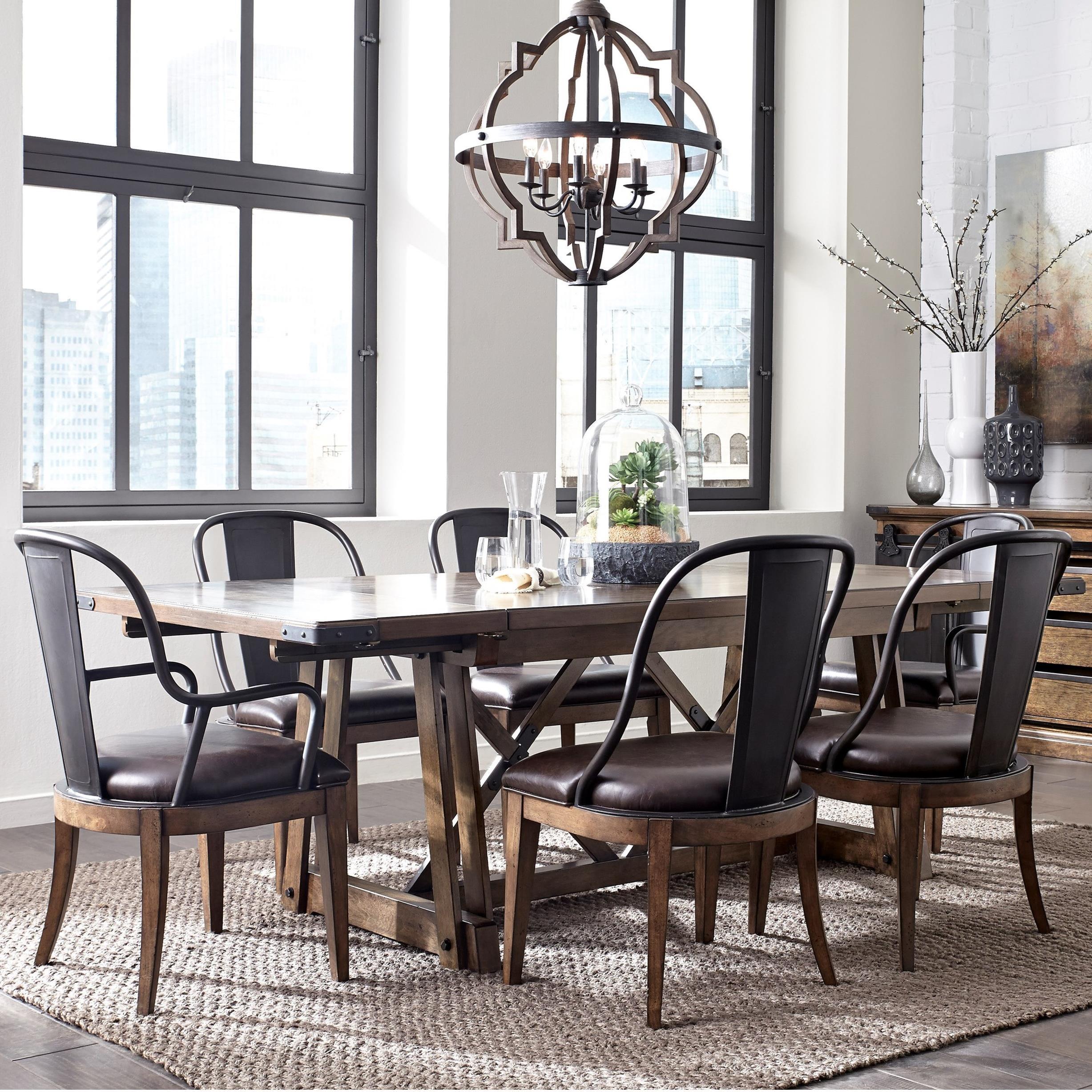 Pulaski Furniture Weston Loft 7 Piece Trestle Table And Metal Chair Set