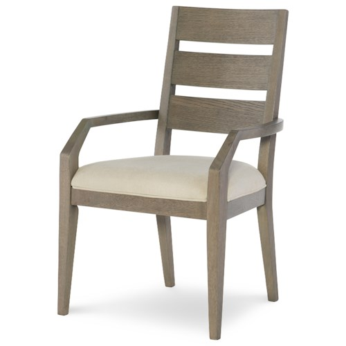 Rachael Ray Home Highline Ladder Back Arm Chair with Upholstered Seat