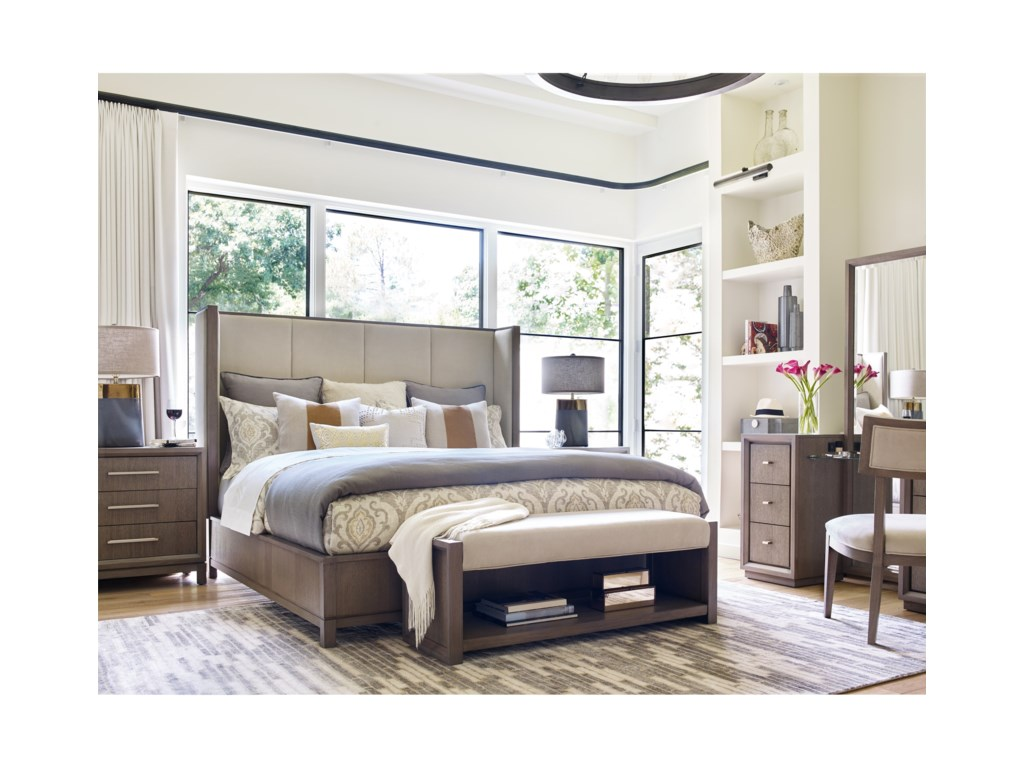 Rachael Ray Home by Legacy Classic HighlineQueen Upholstered Shelter Bed