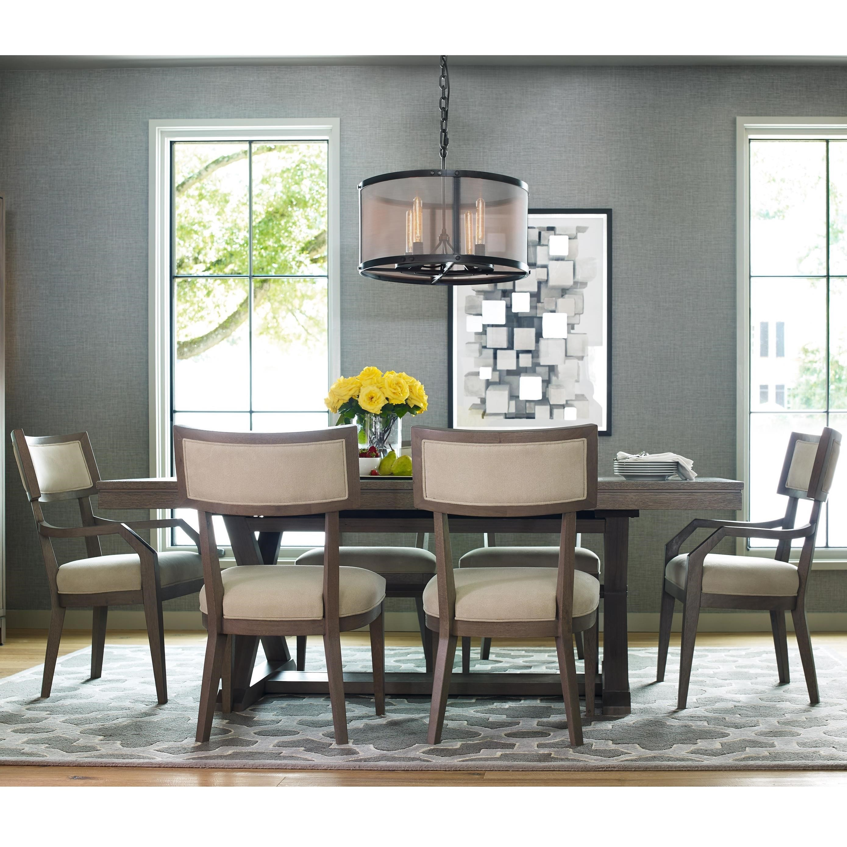 rachael ray home highline 7 piece dining set with trestle table belfort furniture dining 7 or more piece sets