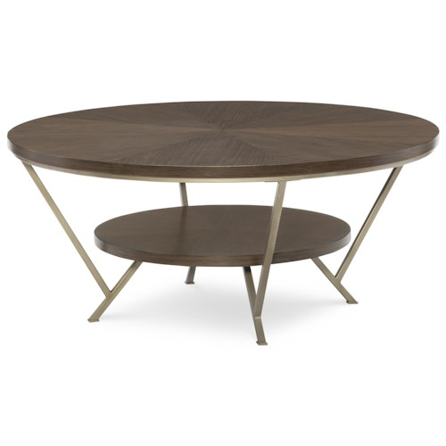 Rachael Ray Home by Legacy Classic Soho Mid-Century Modern Round Cocktail Table with Bottom Shelf