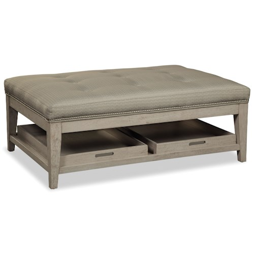Rachael Ray Home by Craftmaster R071200-R071300-R071400 Rectangular Cocktail Ottoman with Two Removable Storage Trays and Pewter Nailheads