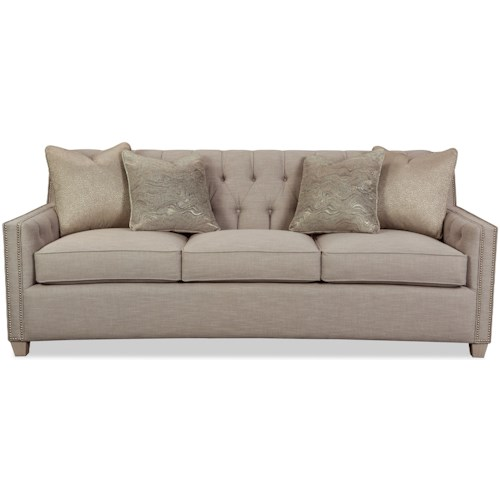 Rachael Ray Home by Craftmaster 774750 Transitional Tufted Sofa with Pewter Nailhead Border