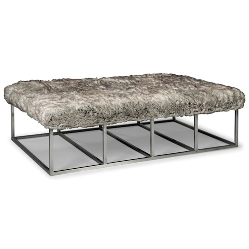 Rachael Ray Home by Craftmaster Highline Modern Metal Cocktail Ottoman