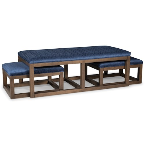 Rachael Ray Home by Craftmaster Soho Contemporary Wood Nesting Cocktail Ottoman Set
