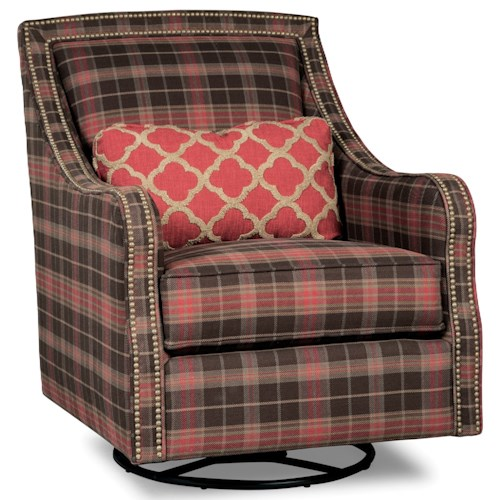 Rachael Ray Home by Craftmaster Upstate Transitional Border Back Swivel Glide Chair with Brass Nail Border