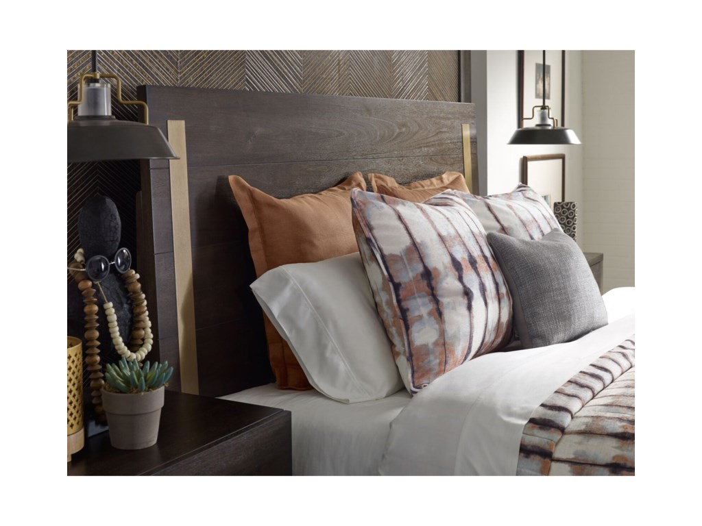 Rachael Ray Home by Legacy Classic AustinQueen Panel Bed w/ Brass Finish Wood Accents