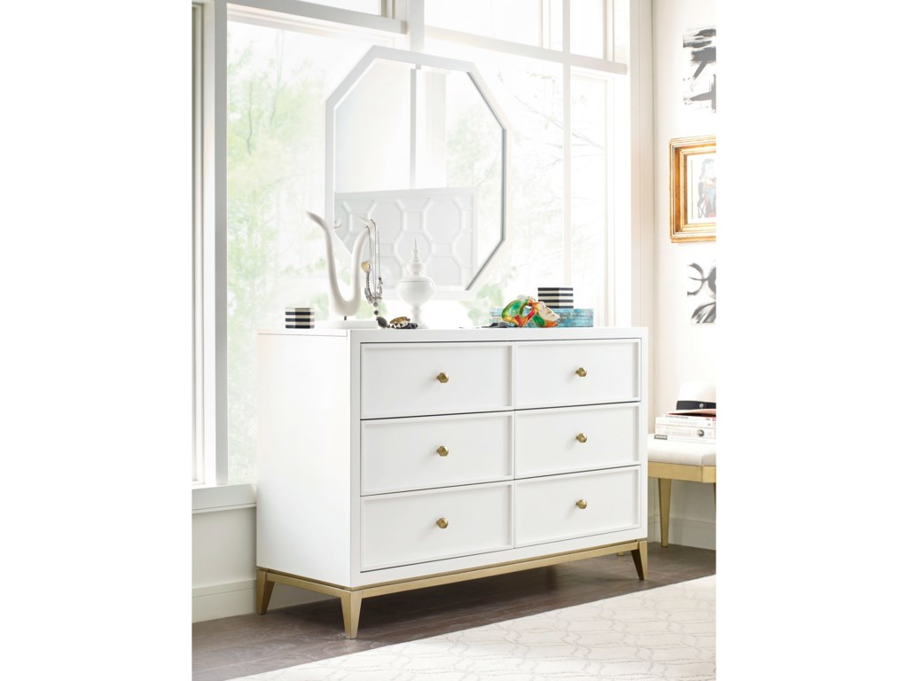 Chelsea 6 Drawer Dresser And Mirror Set With Gold Accents By Rachael Ray Home Legacy Clic