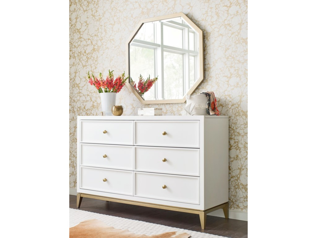 Rachael Ray Home By Legacy Clic Chelsea 6 Drawer Dresser And Mirror Set With Gold Accents