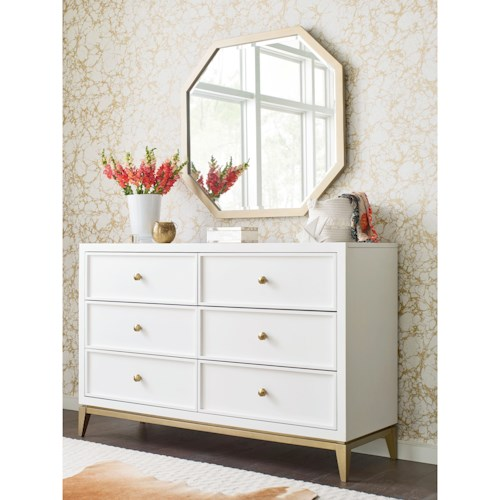 Rachael Ray Home by Legacy Classic Chelsea 6 Drawer Dresser and Mirror Set with Gold Accents