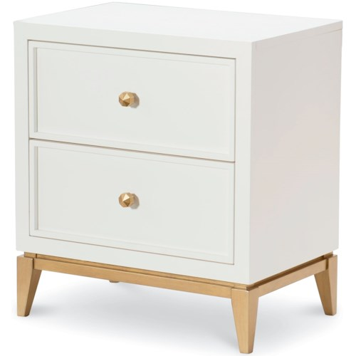 Rachael Ray Home by Legacy Classic Chelsea 2 Drawer Night Stand with Gold Accents