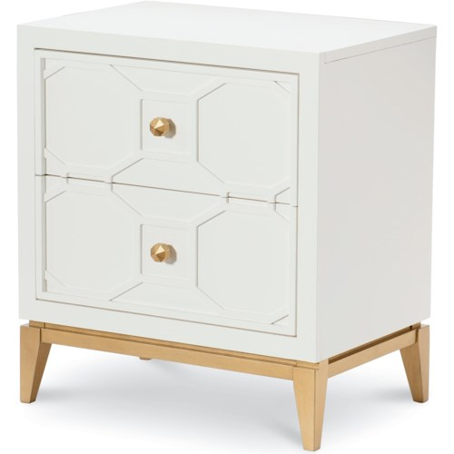 Rachael Ray Home by Legacy Classic Chelsea 2 Drawer Night Stand with Decorative Lattice and Gold Accents