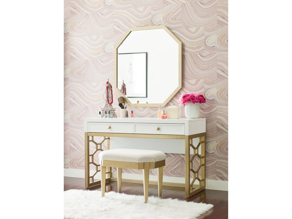 Chelsea White And Gold Vanity With 2 Drawers By Rachael Ray Home Legacy Clic