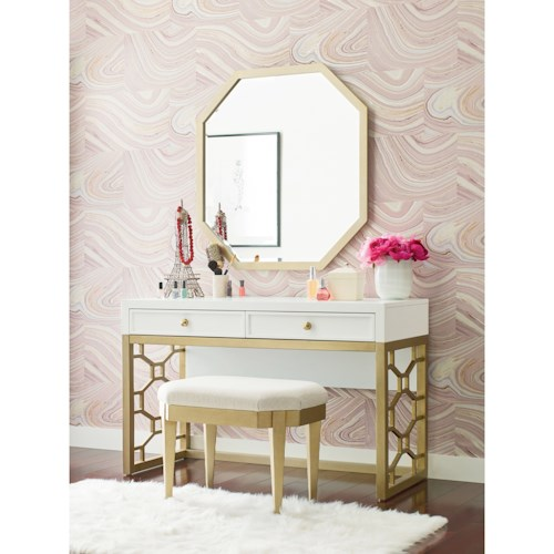 Rachael Ray Home by Legacy Classic Chelsea White and Gold Vanity with 2 Drawers
