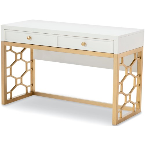 Rachael Ray Home by Legacy Classic Chelsea 2 Drawer White and Gold Desk