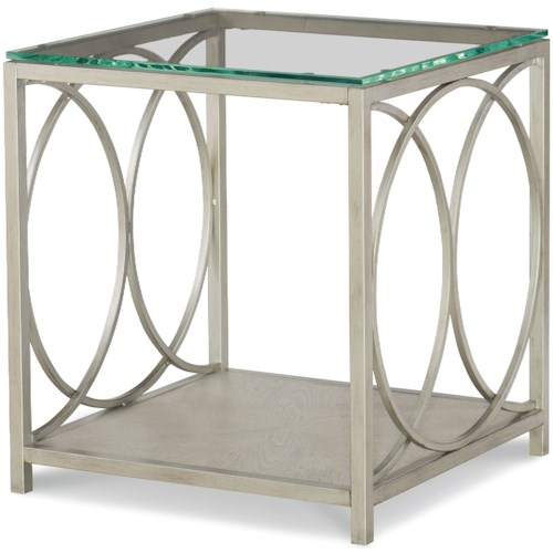 Rachael Ray Home by Legacy Classic Cinema Glass Top End Table with Shelf