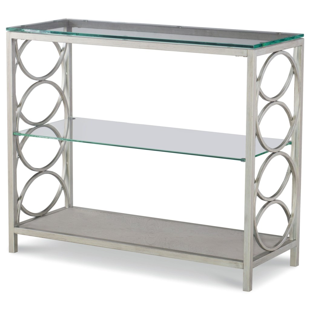 Rachael Ray Home By Legacy Classic Cinema Glass Top Metal Sofa Table
