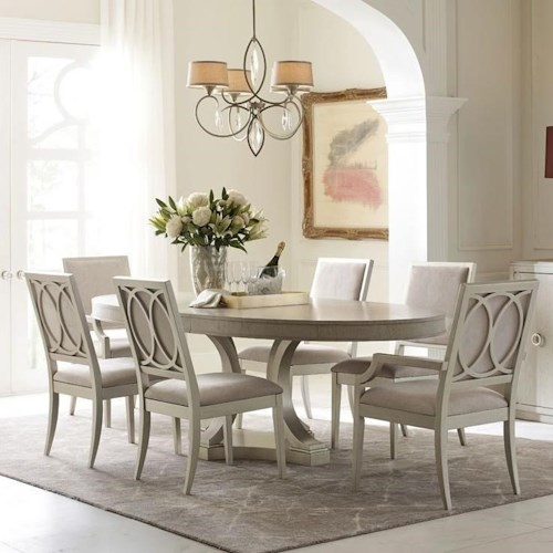 Rachael Ray Home by Legacy Classic Cinema Oval Single Pedestal Dining Table and Upholstered Side and Arm Chair Set