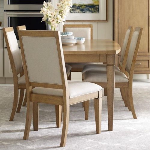 Rachael Ray Home by Legacy Classic Everyday Dining Leg Table With Storage Drawer And 6 Chairs With Upholstered Seat And Back