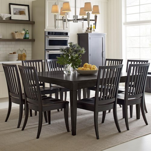 Rachael Ray Home by Legacy Classic Everyday Dining Leg Table With Storage Drawer And 8 Slat Back Chairs