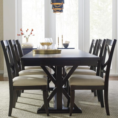 Trestle Table And 6 Upholstered Chairs