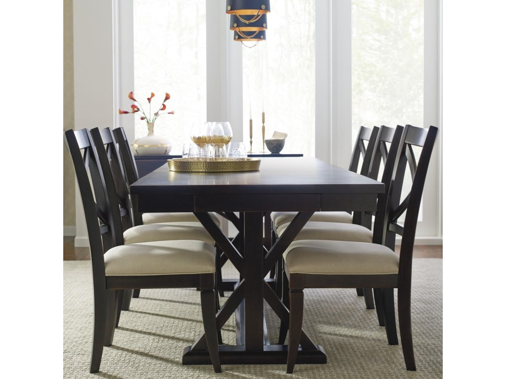 Rachael Ray Home By Legacy Classic Everyday Dining Trestle Table With Leaf And 6 Upholstered Side Chairs