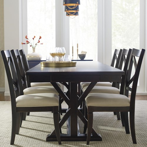 Rachael Ray Home by Legacy Classic Everyday Dining Trestle Dining Table With Leaf And 6 Upholstered Side Chairs