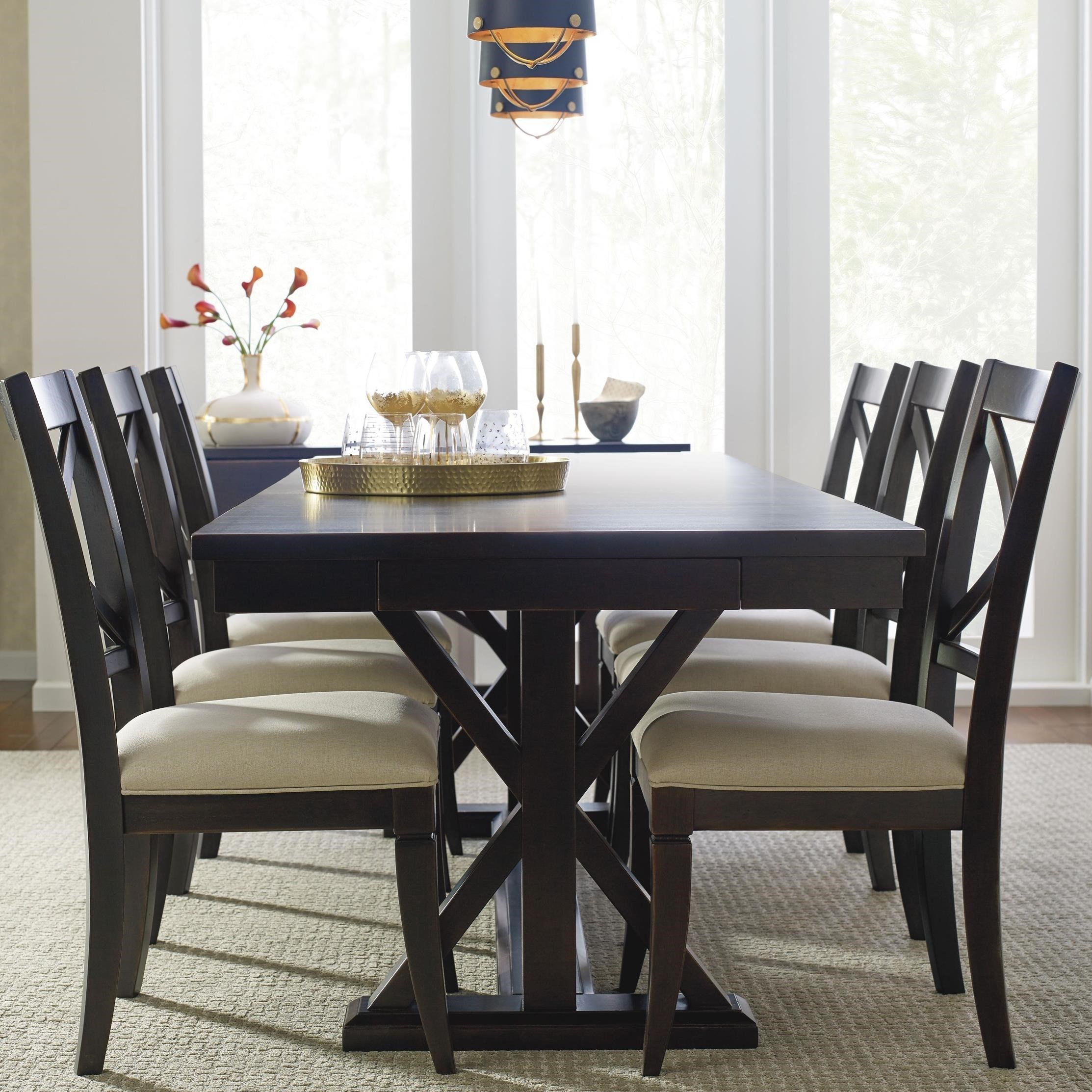 Rachael Ray Home By Legacy Classic Everyday DiningTrestle Table And 6  Upholstered Chairs ...