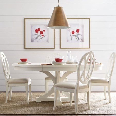 Round To Oval Dining Table And 4 Chairs