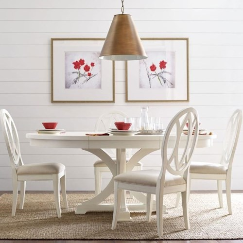 Rachael Ray Home by Legacy Classic Everyday Dining Round To Oval Dining Pedestal Table And 4 Oval Back Chairs