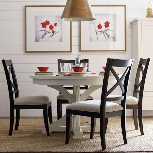 Rachael Ray Home by Legacy Classic Everyday Dining Round To Oval Dining Table And 4 X Back Side Chairs With Upholstered Seats