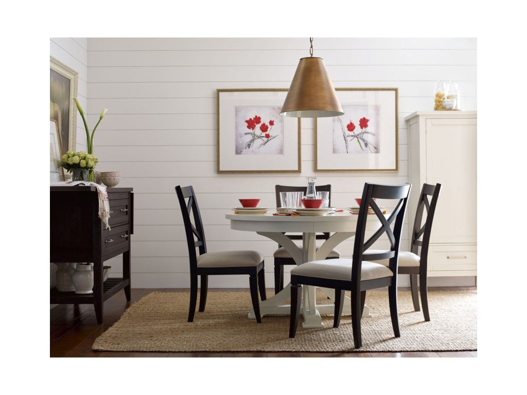 Rachael Ray Home by Legacy Classic Everyday DiningRound to Oval Pedestal Table