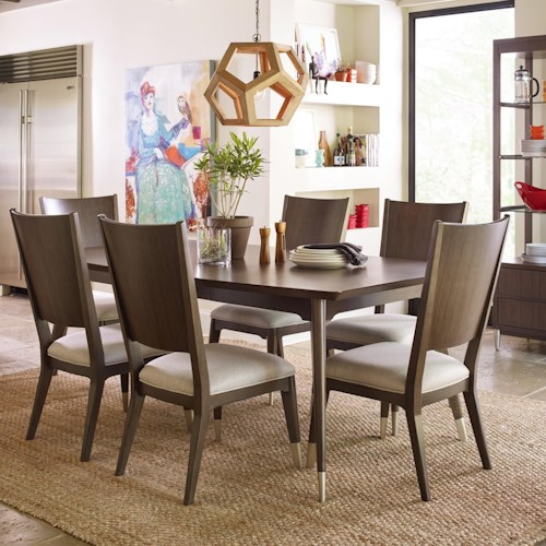 Rachael Ray Home by Legacy Classic Soho Mid-Century Modern 7 Piece Table and Chair Set with Upholstered Seating