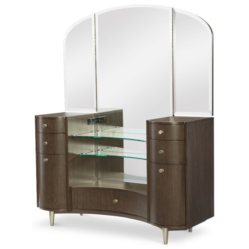 Rachael Ray Home by Legacy Classic Soho Mid-Century Modern Vanity Desk with Tri-Fold Mirror