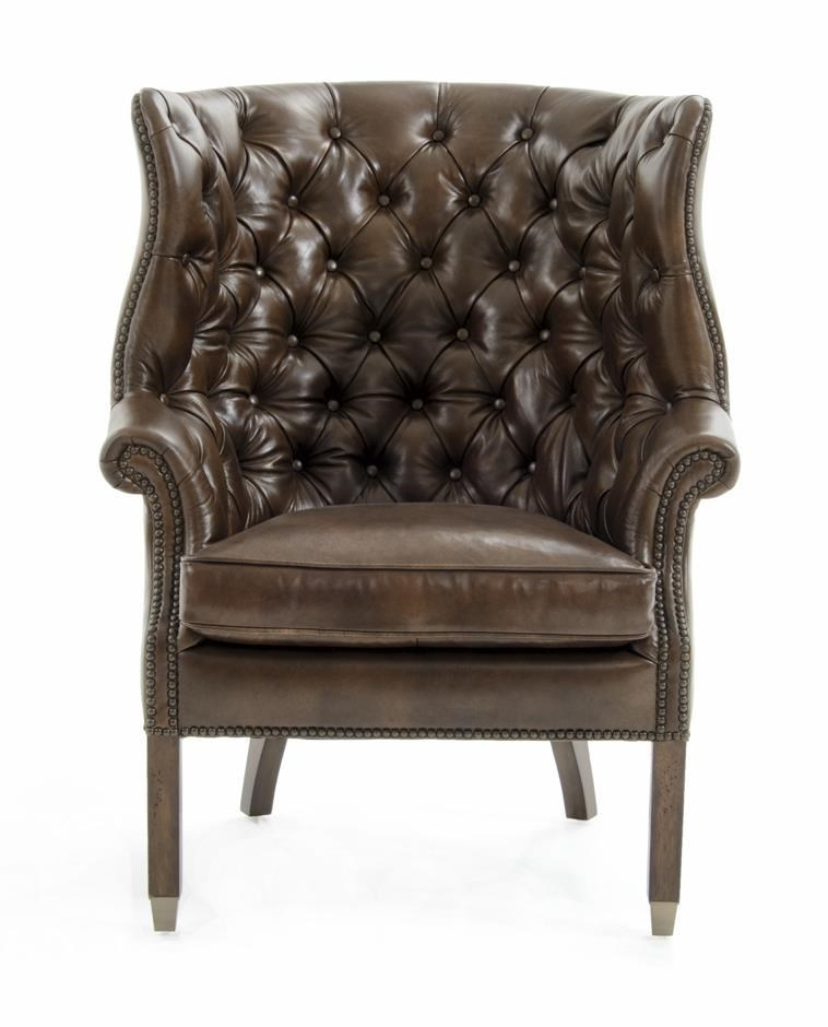 rachlin classics bates traditional tufted leather accent chair with nailhead border baeru0027s furniture upholstered chairs