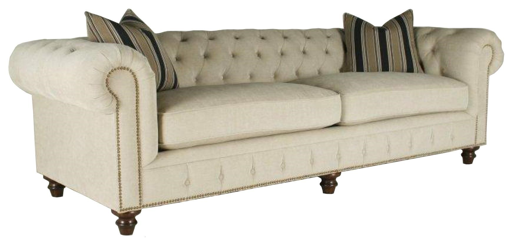 Rachlin Classics Shea Shea Sofa Couch With Rolled Arms And Tufted Seat  Cushions