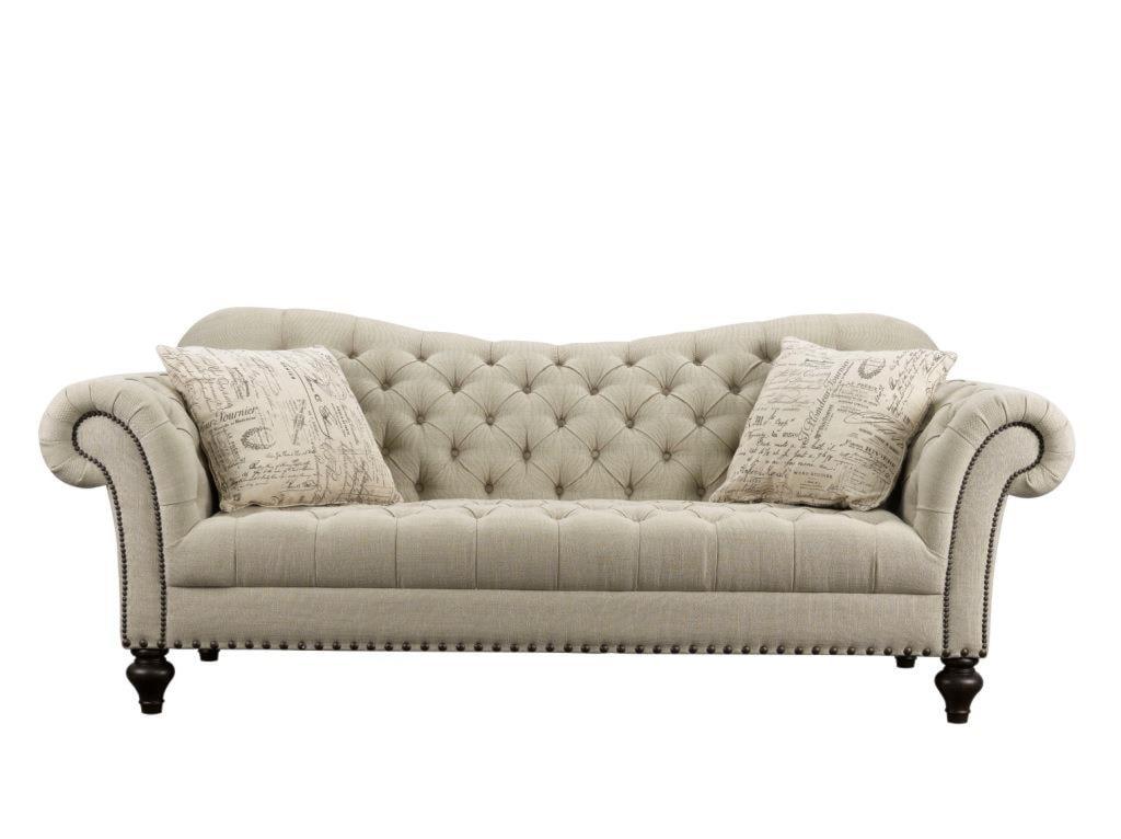 Rachlin classics vanna traditional tufted fabric sofa