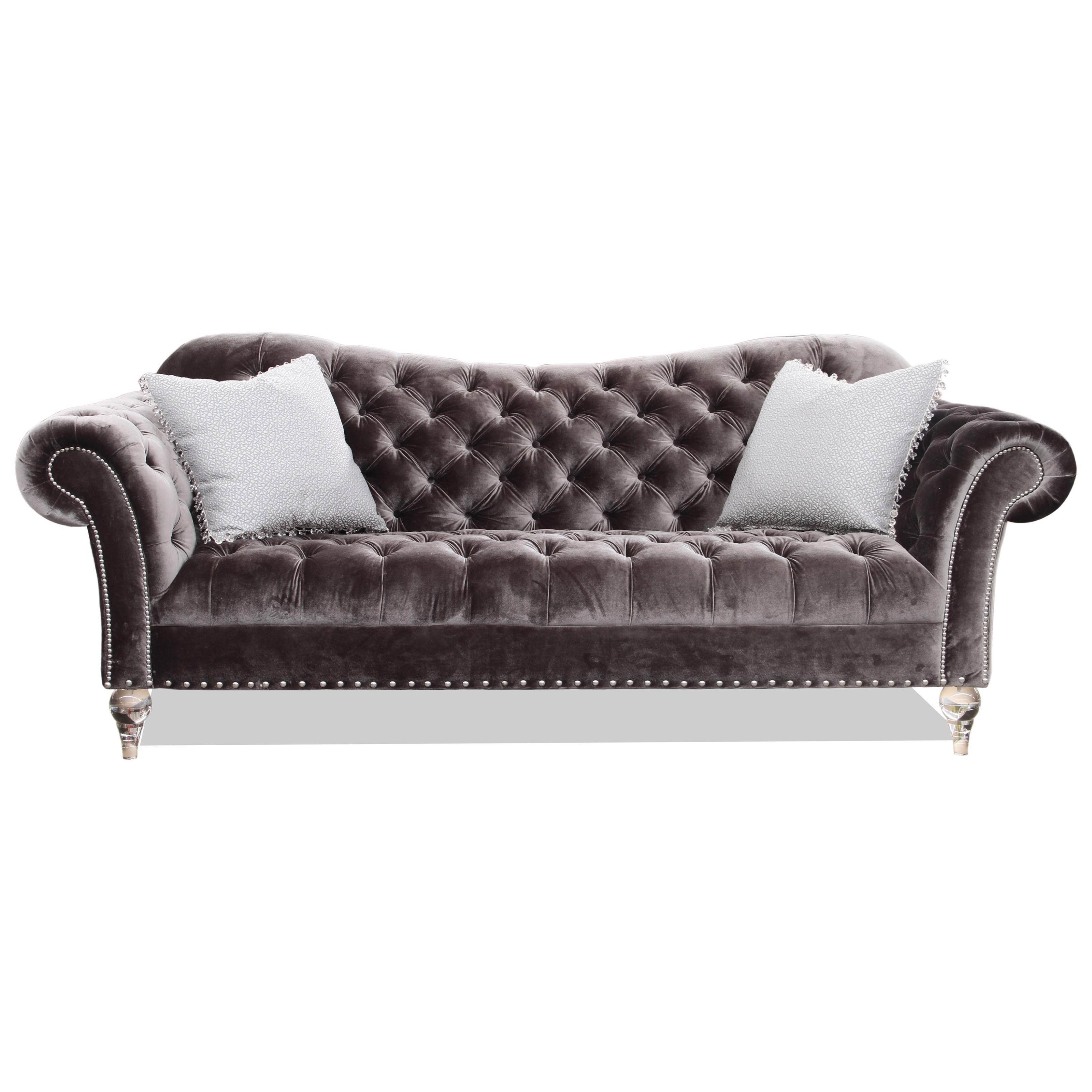 Rachlin Classics Vanna Traditional Sofa With Deep Tufted Accents