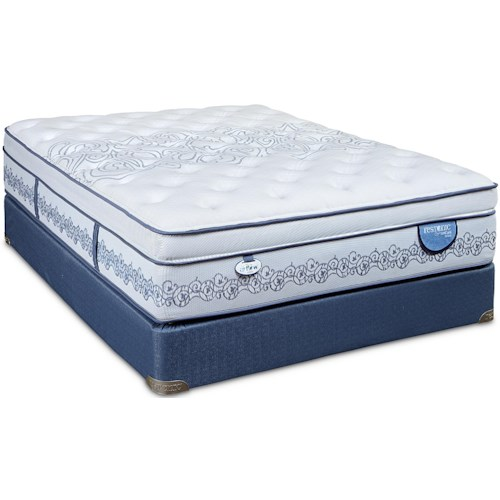 Restonic CC Select Towson Cal King Ultra Euro Top Mattress and Low Profile Foundation