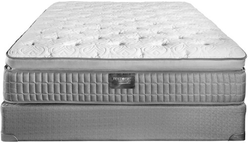 Restonic Sterling Queen Latex Pillow Top Mattress and Foundation