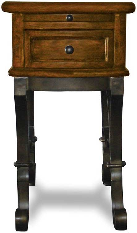 Riverside Furniture Stone Forge Chairside Table with Drawer and Pullout Drink Tray