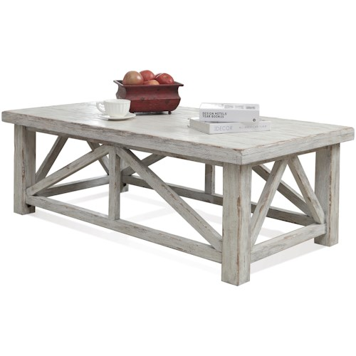 Riverside Furniture Aberdeen Cocktail Table with Block Feet