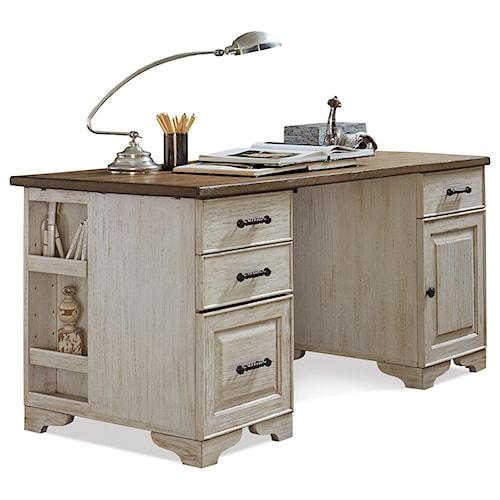 Riverside Furniture Aberdeen Pedestal Desk with Plank Top