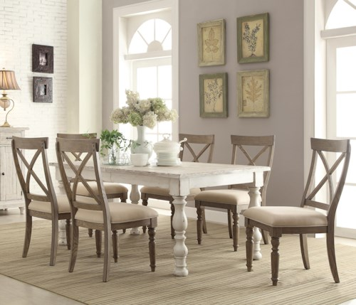 Farm Table Dining: Riverside Furniture Aberdeen 7 Piece Farmhouse Dining Set