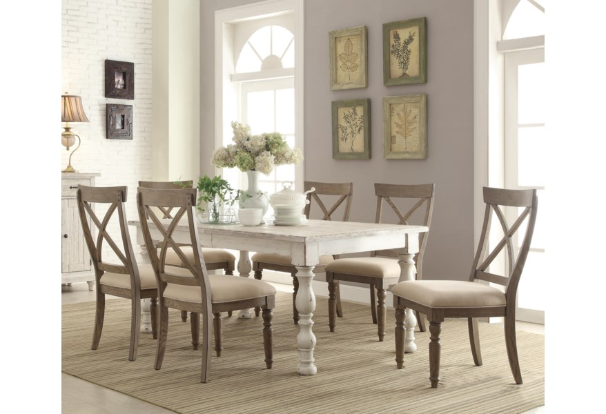 Riverside Furniture Aberdeen 21250 6x21358 7 Piece Farmhouse Dining Set O Dunk O Bright Furniture Dining 7 Or More Piece Sets