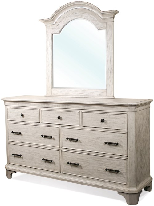 Riverside Furniture Aberdeen 7 Drawer Dresser and Arch Mirror Combo