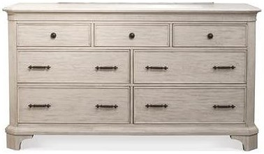 Riverside Furniture Aberdeen 7 Drawer Dresser in Weathered Worn White Finish